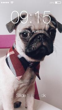 Funny Pug Сomic Lock Screen poster