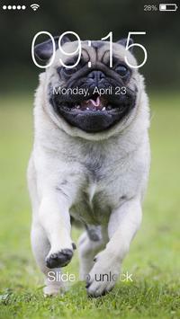 Pug Run Cute Dog Lock Screen poster