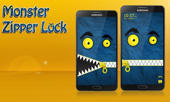 Monster Zipper Lock Screen poster
