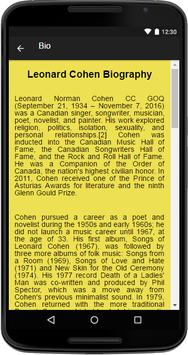 Leonard Cohen Music&Lyrics screenshot 1