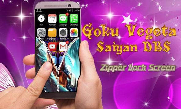 Goku Vegeta Saiyan DBS Zipper Lock Screen screenshot 3