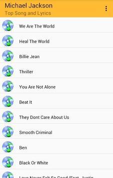 Michael Jackson Top Songs and Lyrics apk screenshot