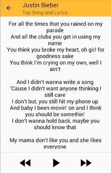 Justin Beiber Top Songs and Lyrics apk screenshot