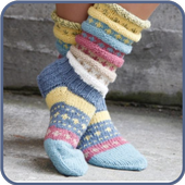 Sock knitting with needles icon