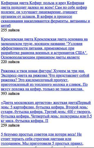 Кремлевская диета. Меню на первые 2 недели. Таблица полная готовых.
