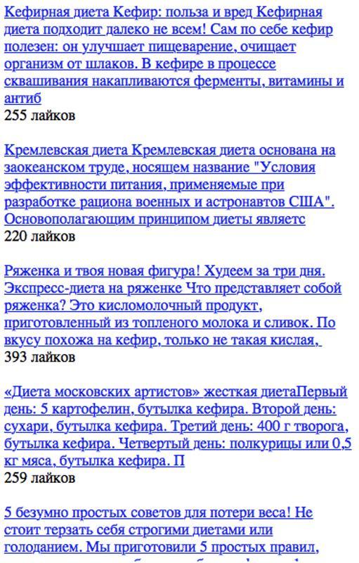 Кремлевская диета + таблица.