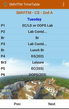 SMVITM Timetable screenshot 1