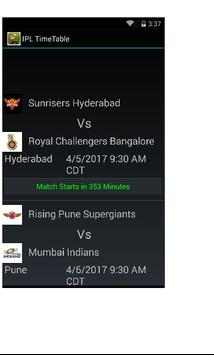 IPL Cricket 2017 Time Table poster