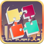 Puzzles for adults of the city icon
