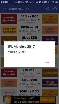 Timetable for IPL 2017 apk screenshot