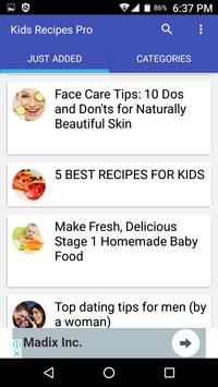 Kids Recipes Pro screenshot 1