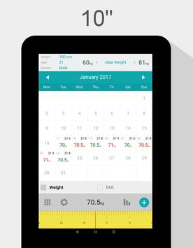 Weight Calendar - BMI & Weight Loss Tracker apk screenshot