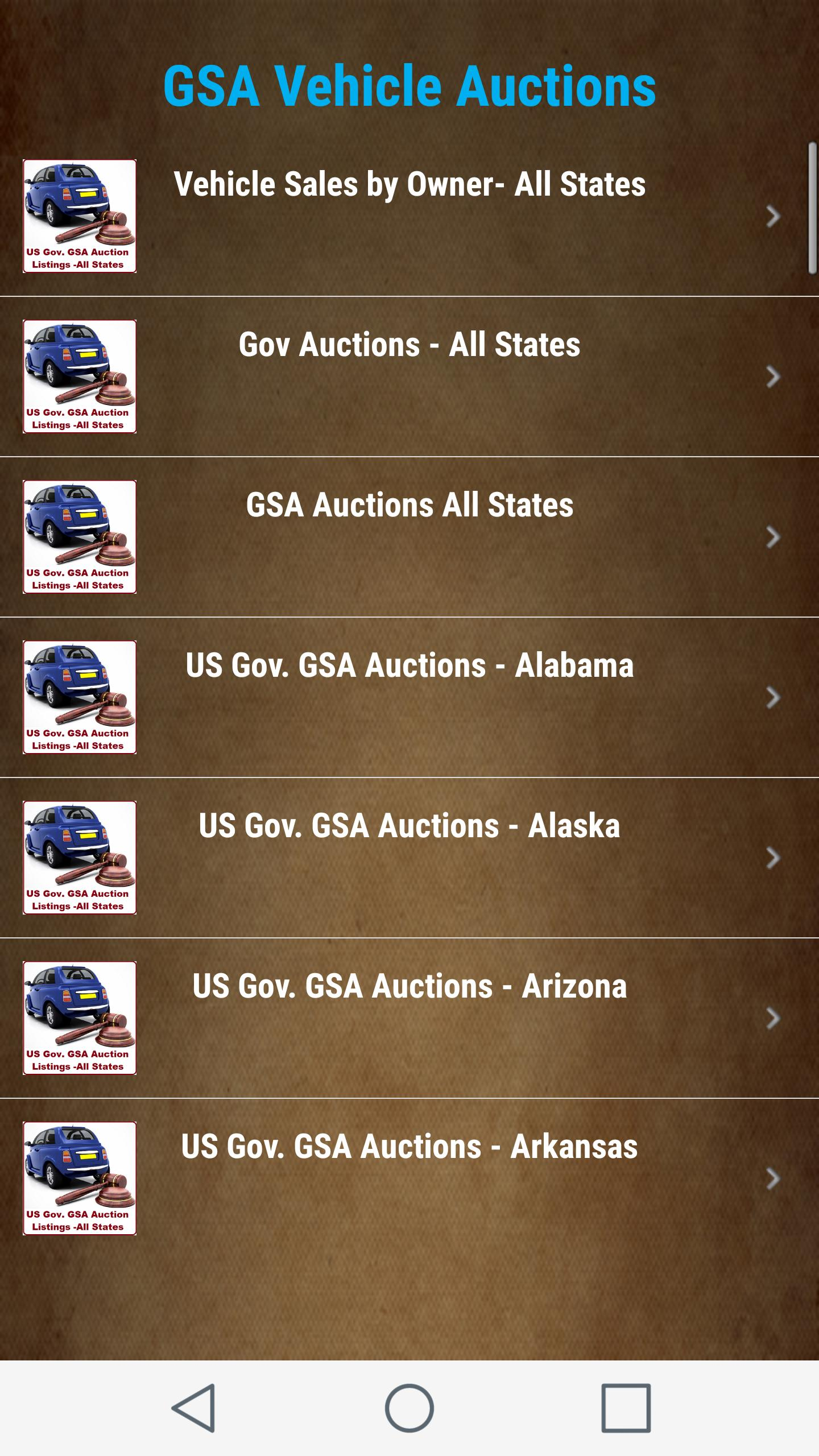 Gsa Auto Auction >> Us Gov Gsa Vehicle Auction Listings All States For Android