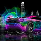 Neon Racing Car Hologram Tech icon