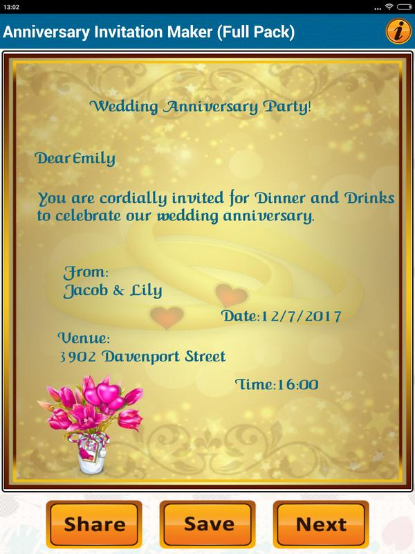 Anniversary invitation cards for android apk download anniversary invitation cards screenshot 18 stopboris Gallery