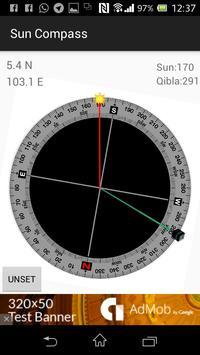 Sun Compass with Qibla angle apk screenshot