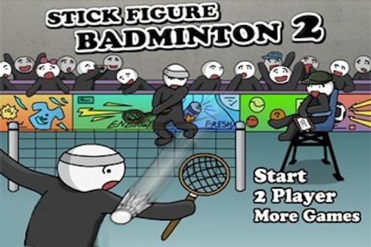 Stick Figure Badminton screenshot 1