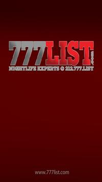 777LIST CONCERTS & NIGHTCLUBS poster