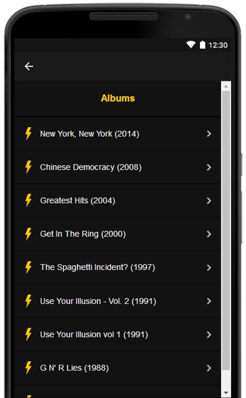 Guns n' roses: all song lyrics full albums for android apk download.