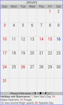 2016 Indian Holiday Calendar apk screenshot
