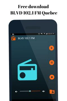 Radio for BLVD 102.1 FM Quebec  station Canada. poster