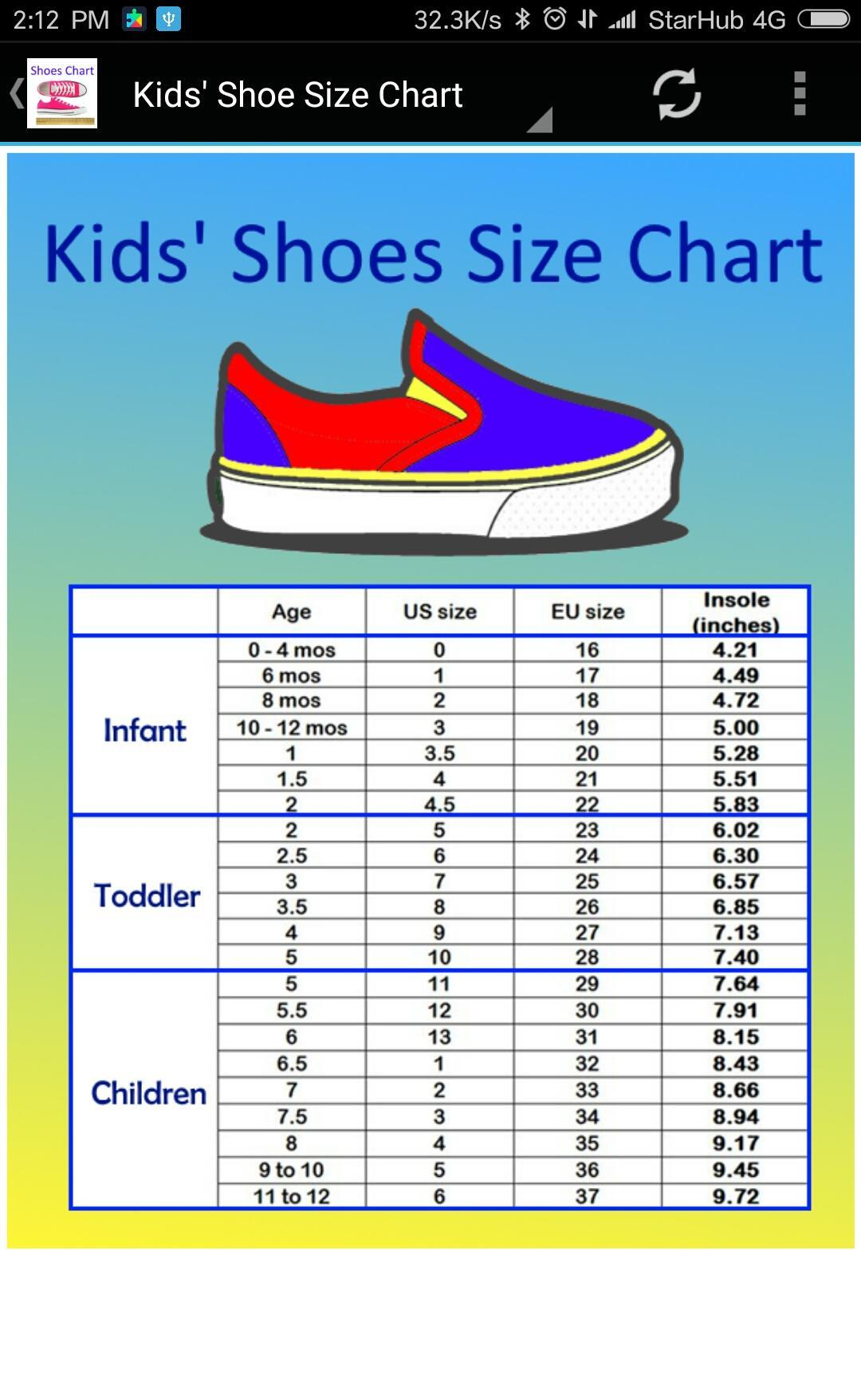 Adult And Kids Shoe Size Chart Converter For Android Apk Download