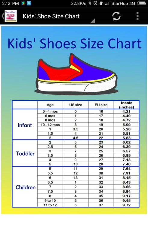 And Kids Shoe Size Chart Converter Screenshot 2