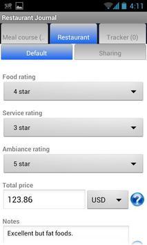 Restaurant Journal apk screenshot