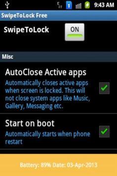 Swipe To Lock Screen Free apk screenshot