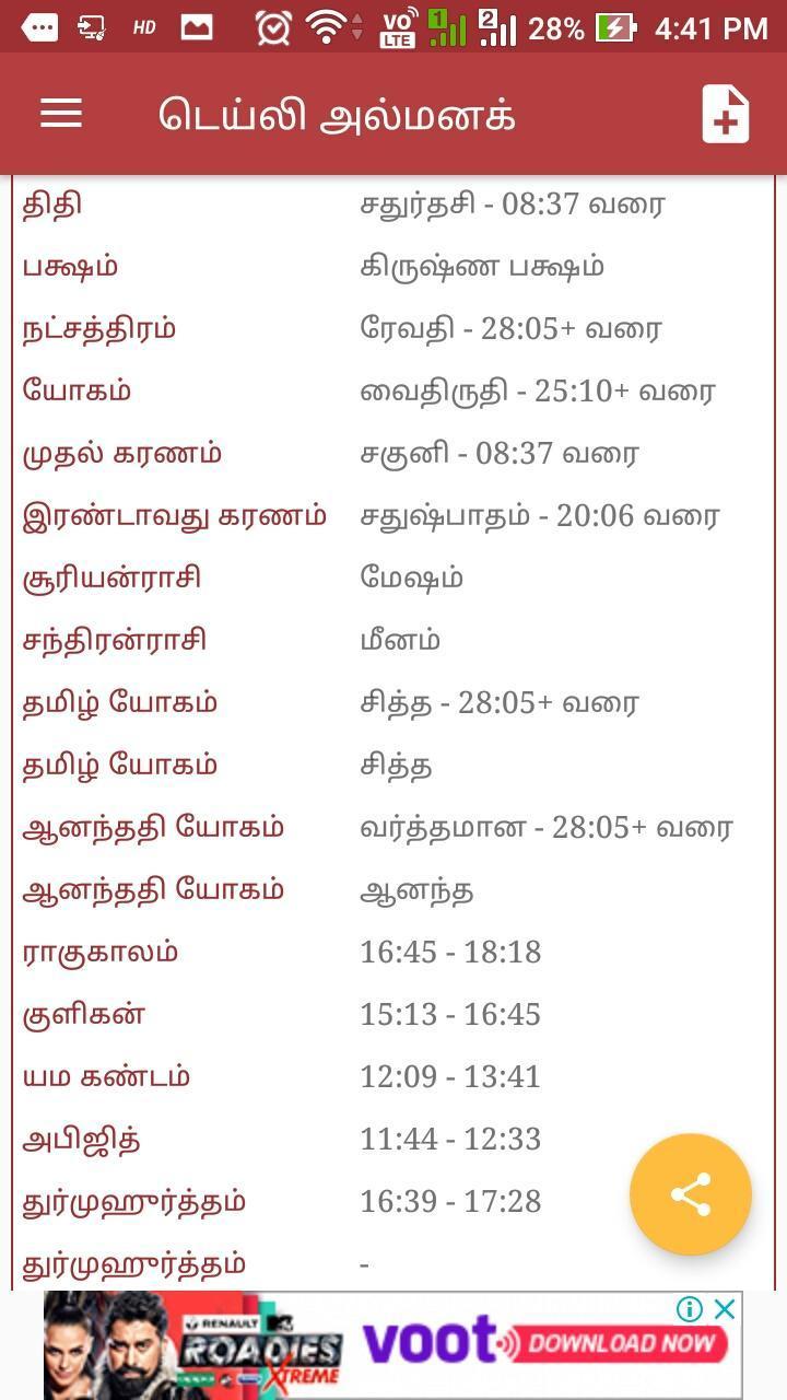 Tamil Calendar 2019 Panchangam : Daily Rashipalan for