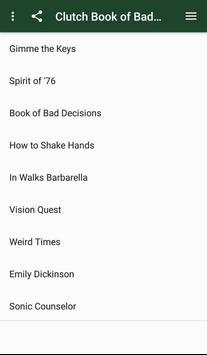 Clutch Book of Bad Decisions lyrics screenshot 1