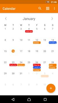 Calendario simple captura de pantalla 1