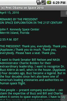 )s) Pres Obama on Space 2010 apk screenshot