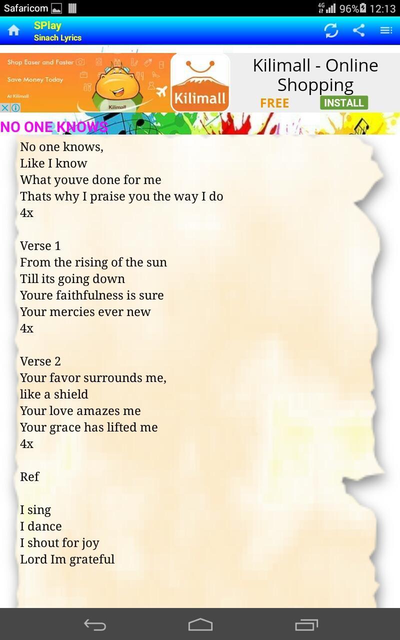 SPlay - Sinach lyrics cho Android - Tải về APK