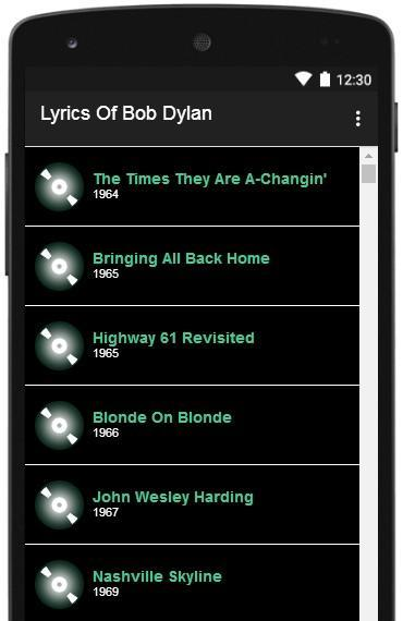 Bob Dylan Lyrics Full Albums for Android - APK Download