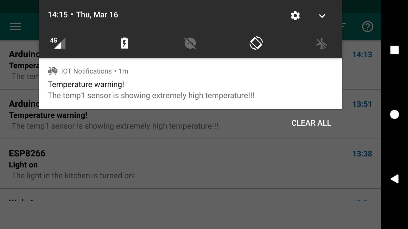 Iot and code notifications arduino raspberry pi