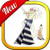 sketch of wedding dress icon
