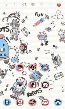 Doodle Robot Launcher theme apk screenshot
