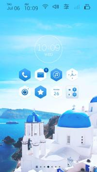 Travel to santorini Launcher theme poster