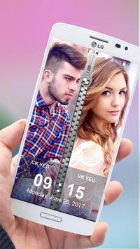 Couple Photo Zipper Lock Screen poster
