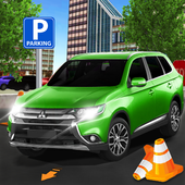Smart car city parking icon