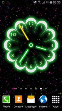 Neon Flowers Clock poster