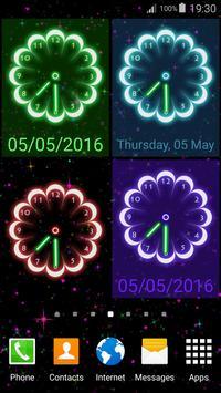 Neon Flowers Clock screenshot 3