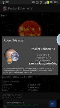 Pocket Ephemeris apk screenshot