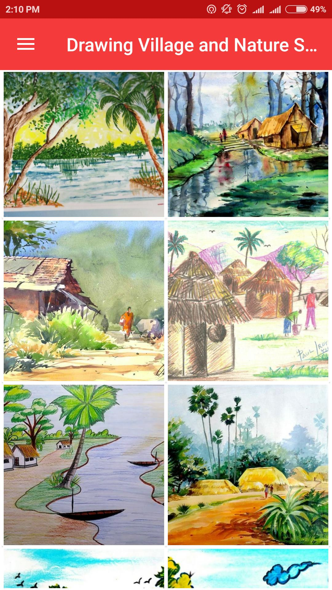 Drawing Village And Nature Scenery For Android Apk Download