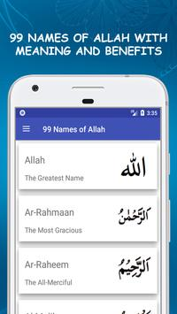 99 Names of Allah Asma ul Husna with Meanings poster