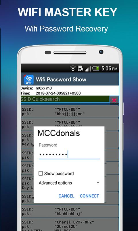 Show wifi password android