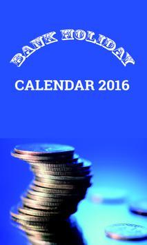 Bank Holiday Calendar 2016 poster