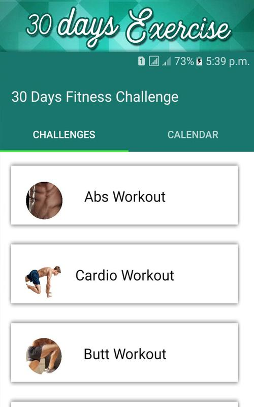 30 Day Fit Challenge Workout Lose Weight Trainer Apk Screenshot