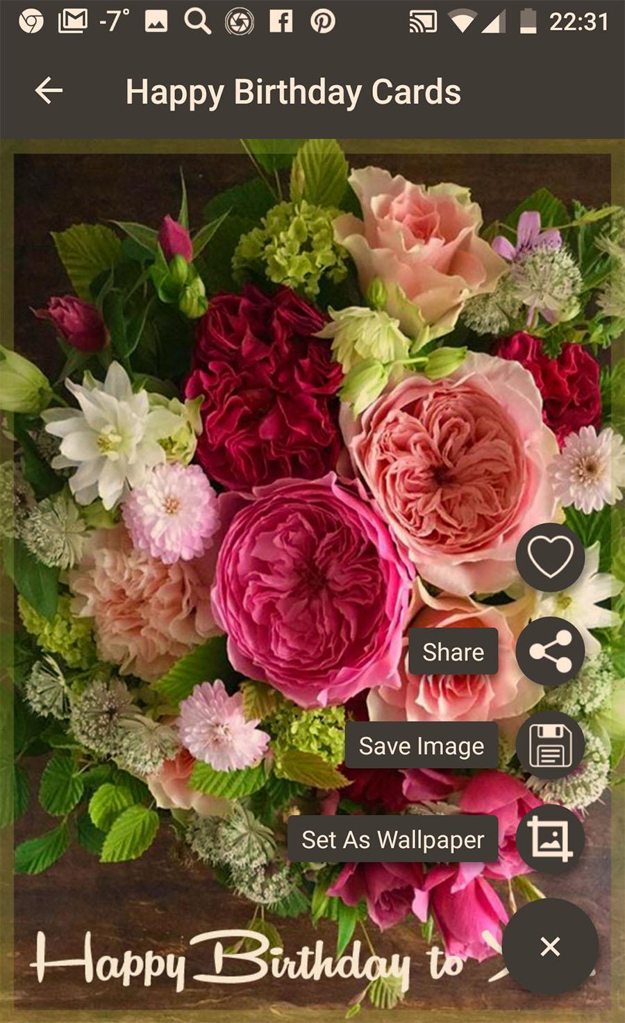 Social App Poster Birthday Greeting Cards Flowers